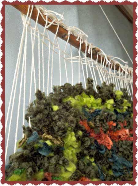tapiz, telar, árbol, lanas