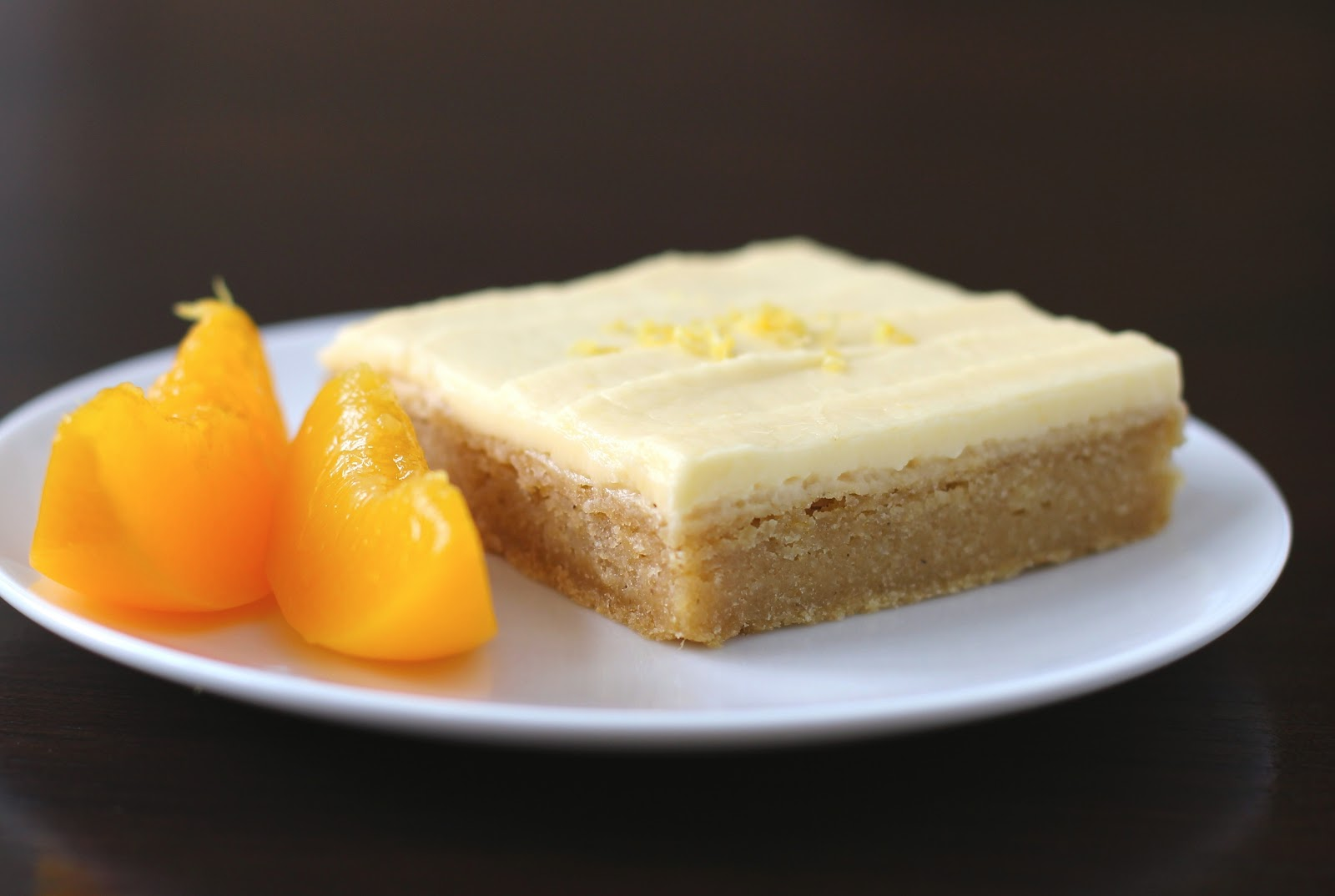 Healthy Lemony Peach Blondies with Peach Frosting (gluten free, vegan)