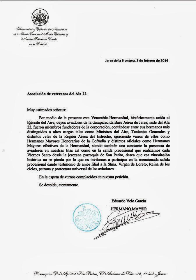 AGENDA LAURETANA: CARTA DE INVITACIÓN A LA ASOCIACIÓN DE VETERANOS ...