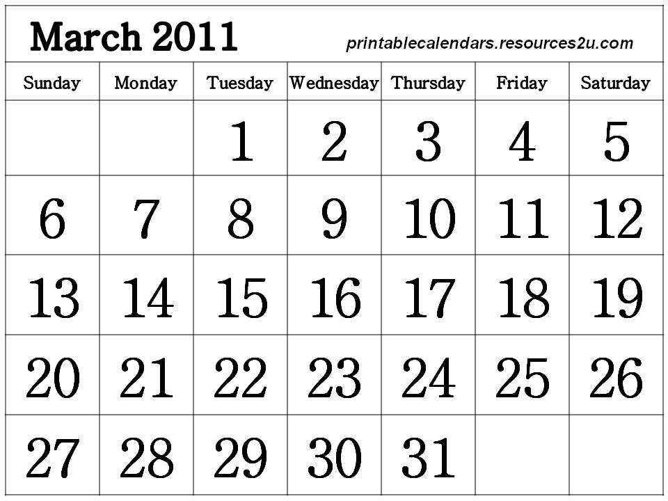 blank march 2011 printable calendar. lank march 2011 calendar