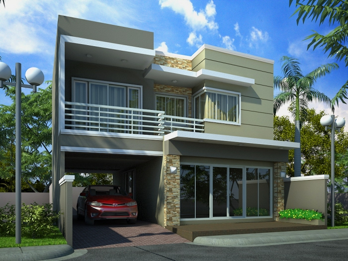 New home designs latest modern homes front views terrace for Modern home front view design