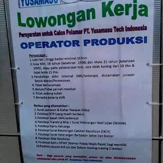 Lowongan Kerja PT Yusamasu Tech Indonesia