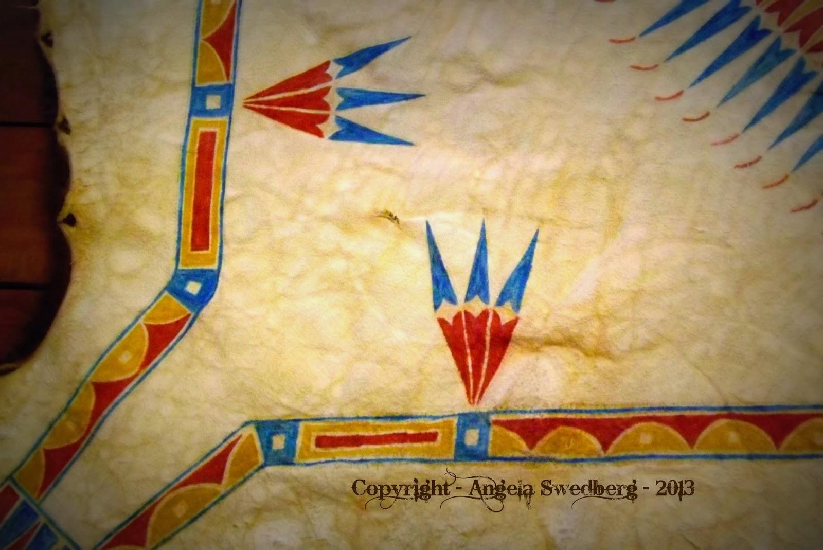 angela swedberg  mandan style painted robe and beaded strip