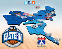 nba map, eastern conference, atlantic, central, southeast