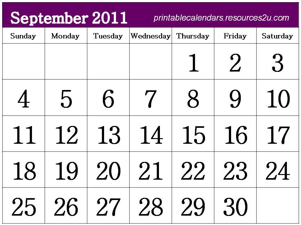 free calendars. Free Calendar 2011 September