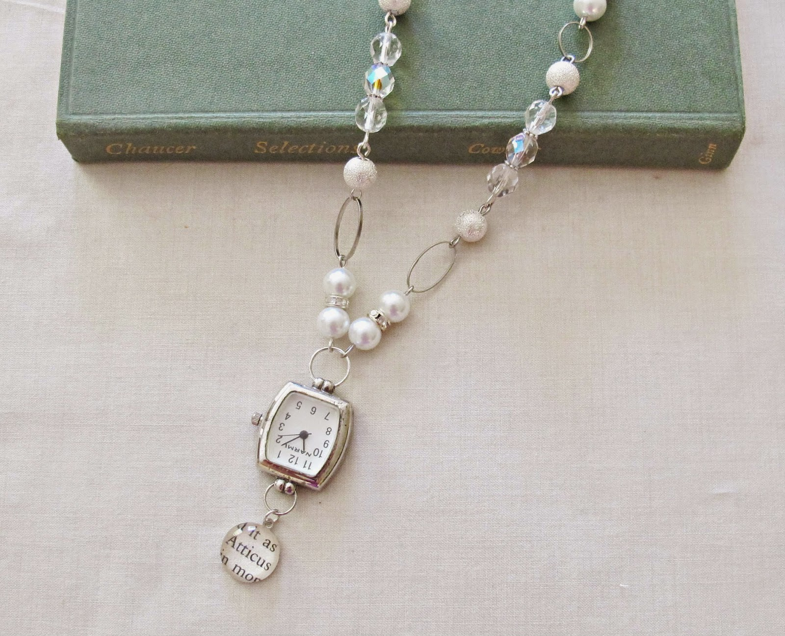 image atticus finch watch necklace pendant silver white crystal glass pearls two cheeky monkeys to kill a mockingbird