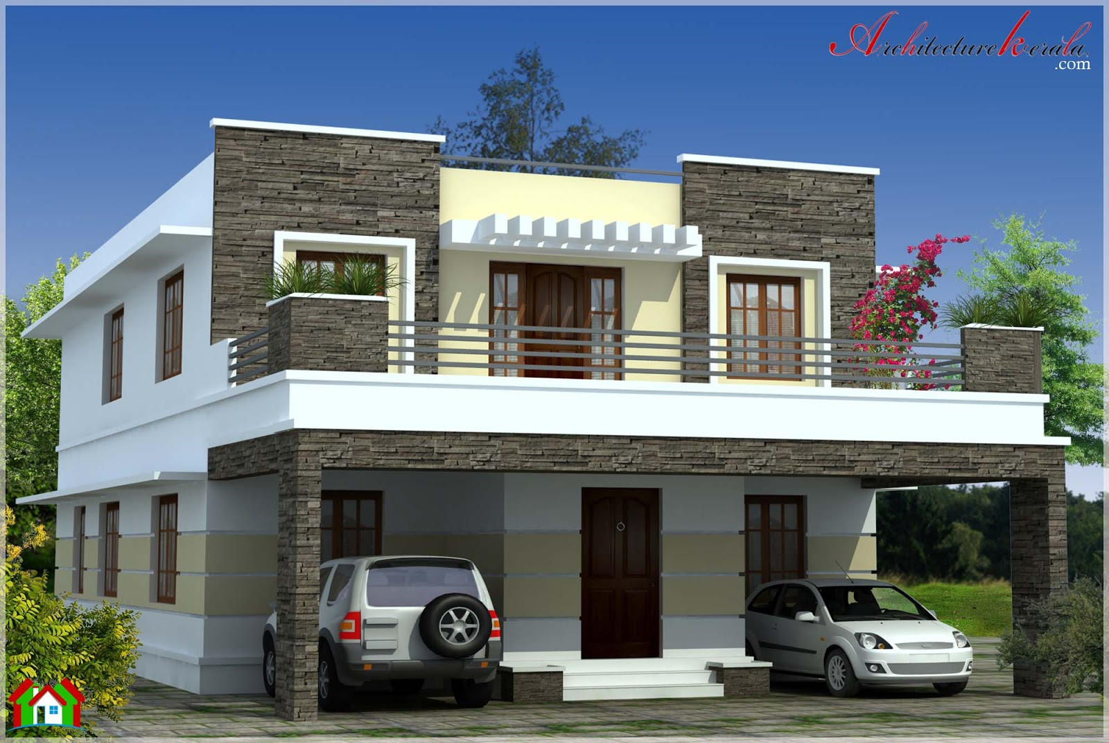 Simple contemporary style kerala house elevation for Architectural designs for 3 bedroom flat