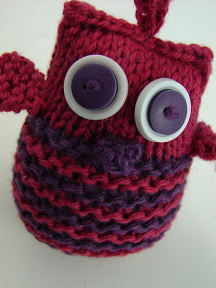 knit owl ornament purple pink