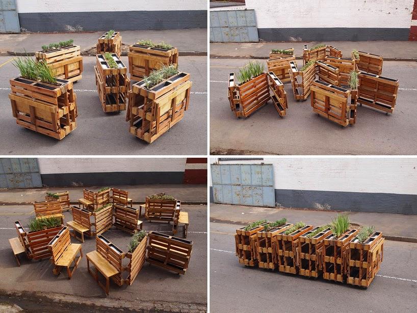 Bancos para Espacios Publicos Hechos con Pallets Reciclados