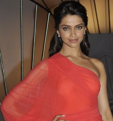 Deepika Padukone Hot Red Saree