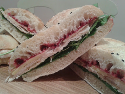 Turkey cranberry melts on turkish bread