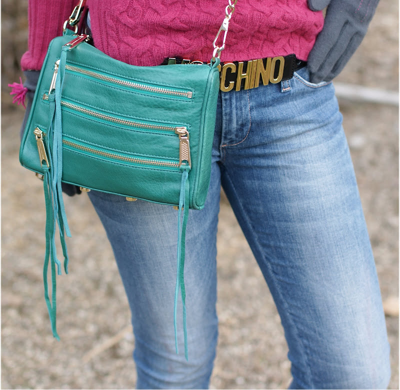 MRebecca Minkoff bag, mini 5 zip clutch, Moschino belt