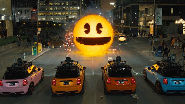 Pixels film Pacman scene Pinky Clyde Blinky Inky