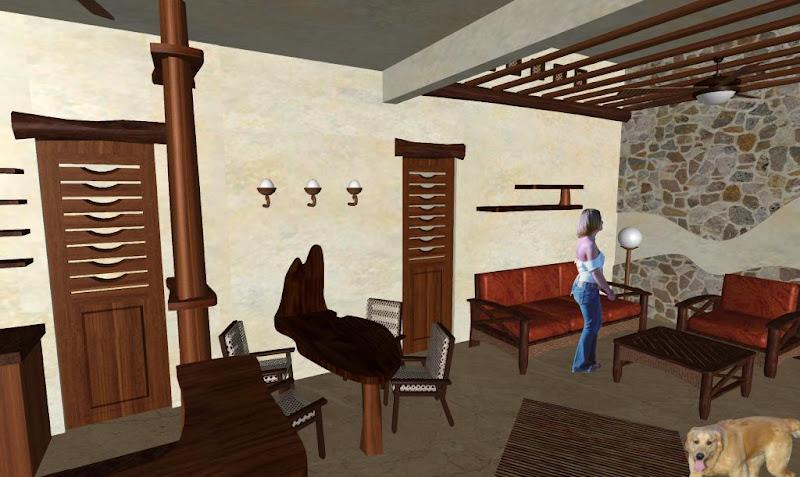 diseño interior casa cabaña rústica con madera y piedra natural - mesa comedor rustico