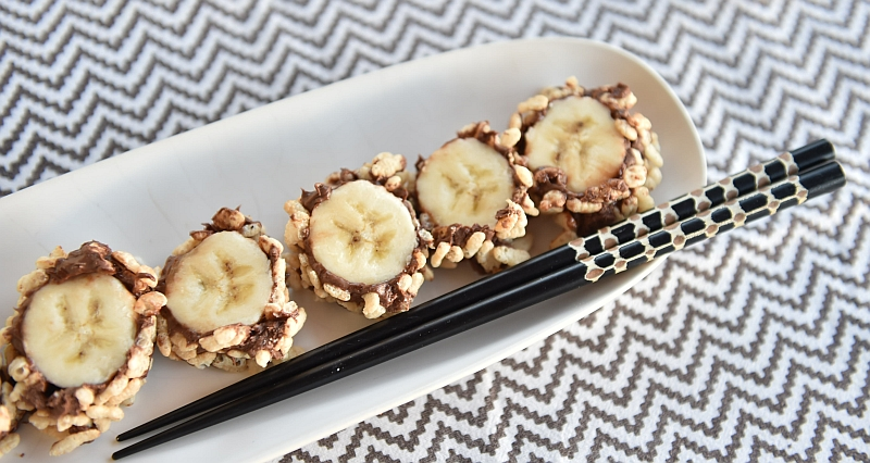 Extremamente Fatias Douradas: Sushi de banana e Nutella YU79