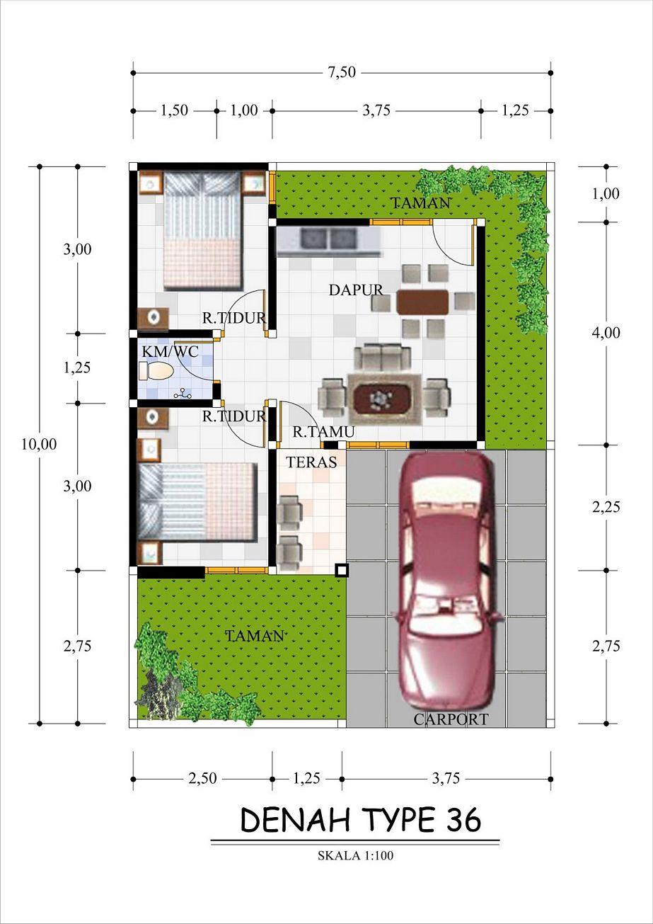 rancangan denah rumah ukuran 36 idaman