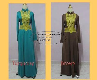 Jubah Kerawang - Turquoise dan Brown