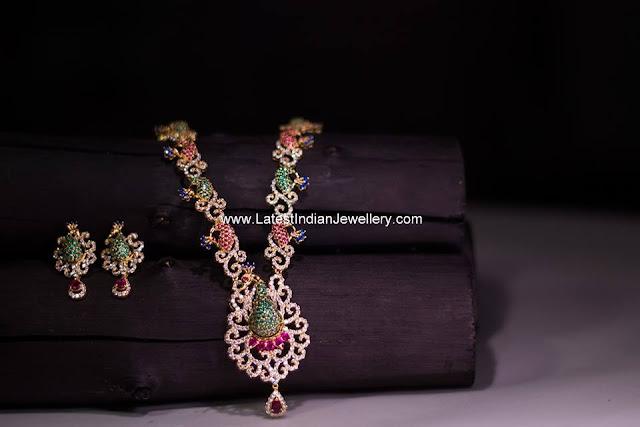 Peacock Design Diamond Necklace
