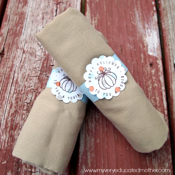 Stamped Napkin Rings using stamps from PSA Essentials for this Thanksgiving dinner!