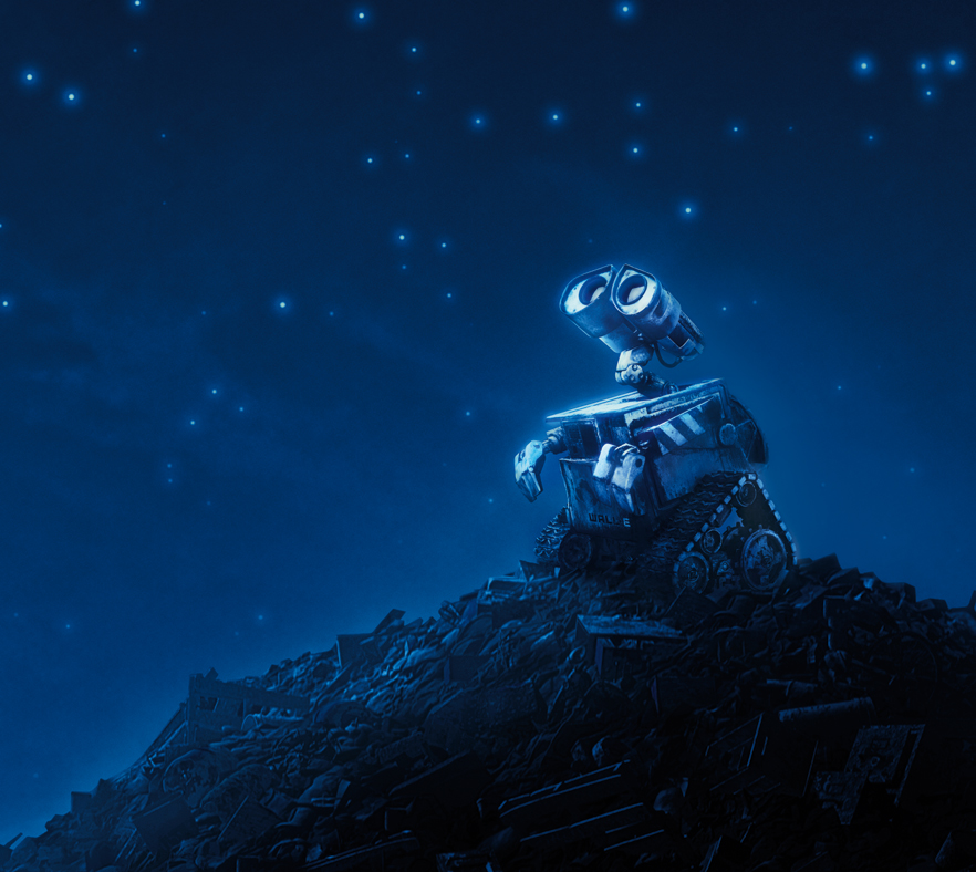 WALL-E looking into the night sky