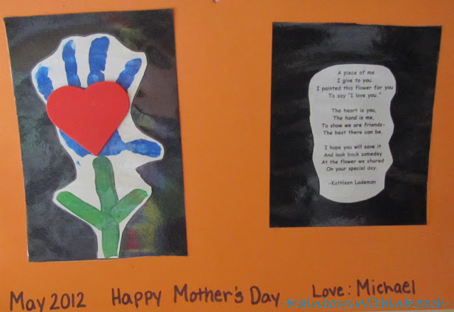 photo of: Cute Mother's Day poem, Preschool handprint poem
