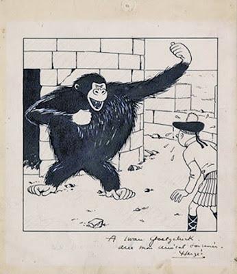 Tekening van Hergé, met opdracht