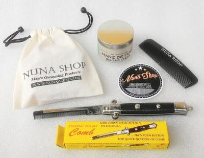 Paket Hemat Pomade Hanz de Fuko Scheme Cream + Switchblade Comb (SB) + Pouch + Stiker + Sisir Saku