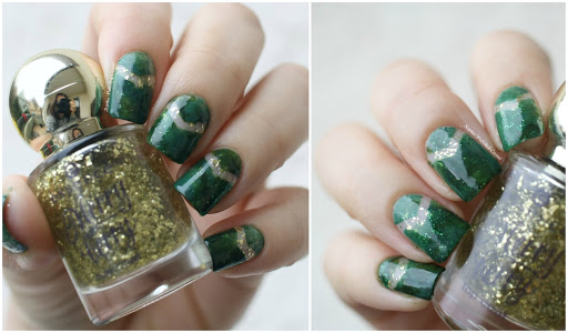 Green and Gold Xmas Dry Marble Nails