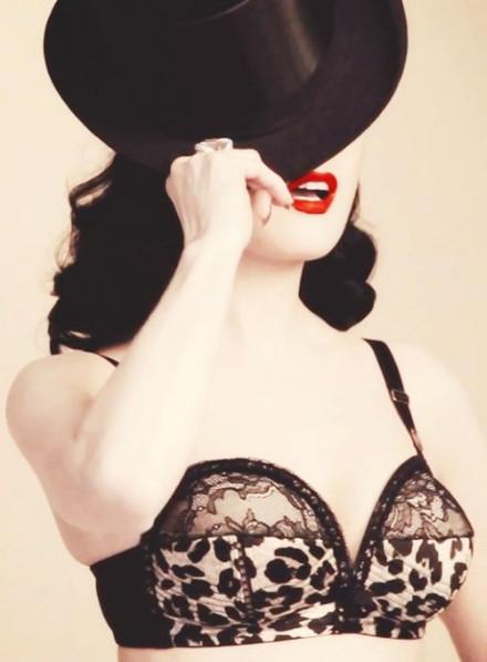 dita von teese, leopard, lingerie, von follies, top hat