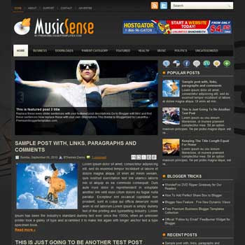 Music Sense blog template. template image slider blog. magazine blogger template style. wordpress theme to blogger. template blog 3 column footer