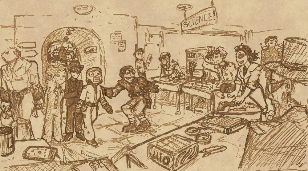 Rajongói kép; a Légyszi, ne mondd el a szüleimnek, hogy szupergonosz lettem! egyik jelenetét ábrázolja.