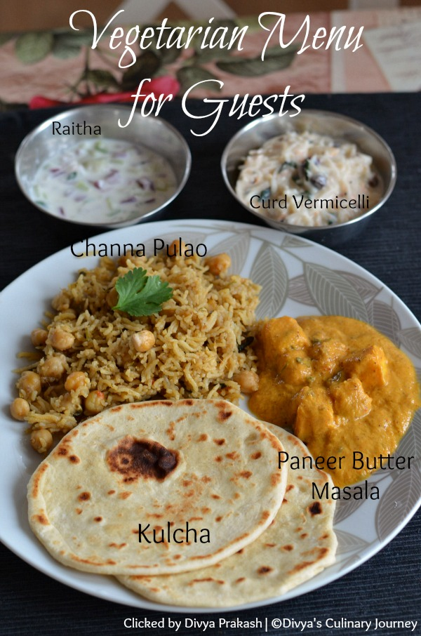 Indian Vegetarian Menu For Guests