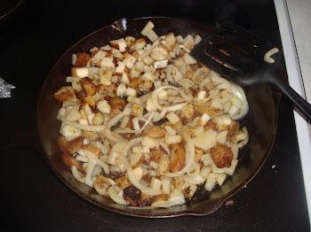 Hearty Winter Breakfast - Frying Onions and Potato