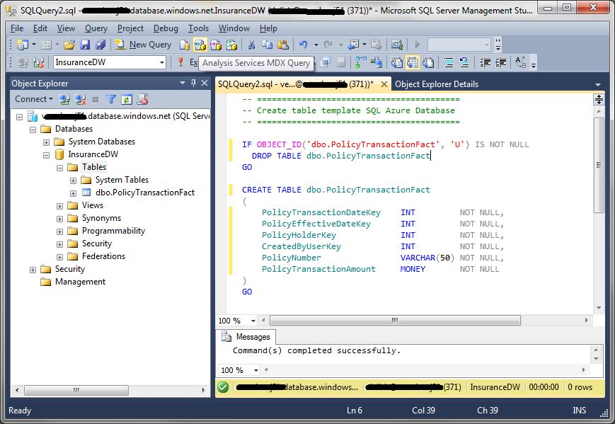Sql azure development tools for Table design sql