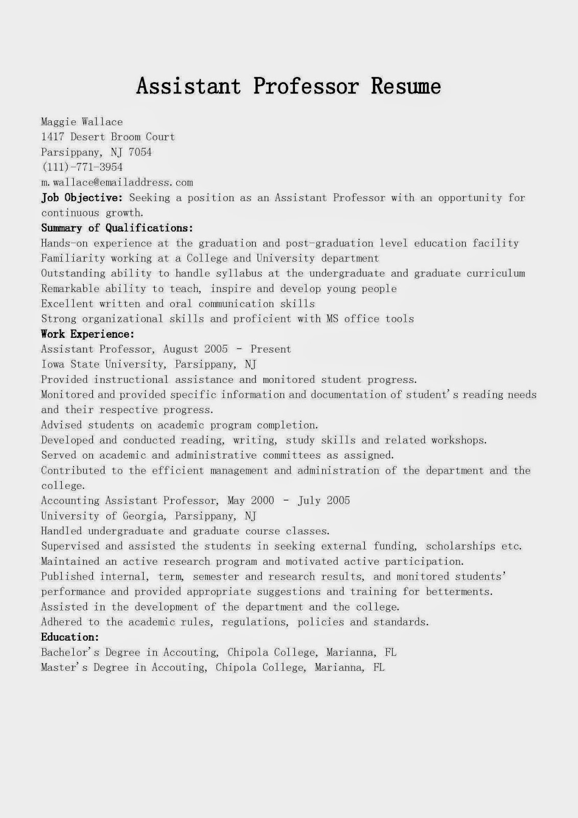 resume samples  assistant professor resume sample