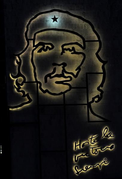 La luz del Che, el Guerrillero heroico, en la Plaza de la Revolucion en La Habana