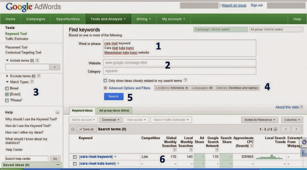 Google adwords keyword tools: