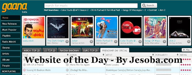Web site of the Day - Entertainment | Gaana, Thursday, 2nd Aug, 2012