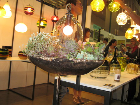 Another One Of My Favorite Items Was A Beautifully Crafted Succulent  Planter That Was Blown Glass With A GROW LIGHT In A Bell Suspended Over The  Plants.