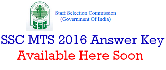 SSC MTS 2016 Answer Key
