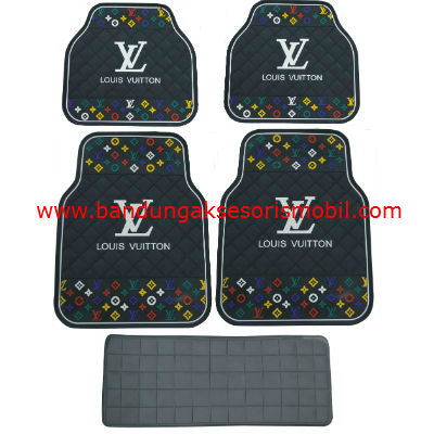 Karpet LV Dasar Hitam Motif 3 Colour Japan