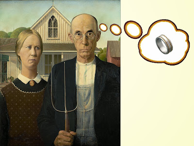 Farm couple, man has thought balloon showing wedding ring