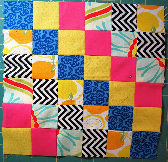 Scrappy Trip Around the World Quilting Bee Block