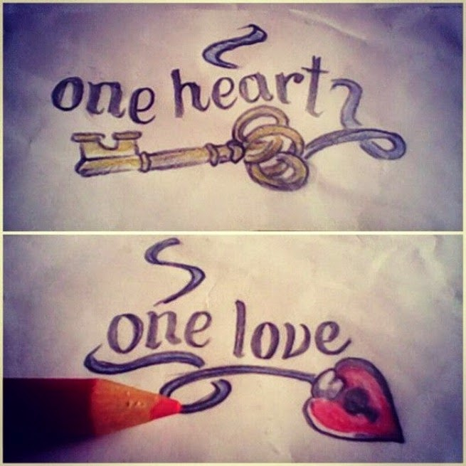 One Heart One Love Couple Tattoo Design
