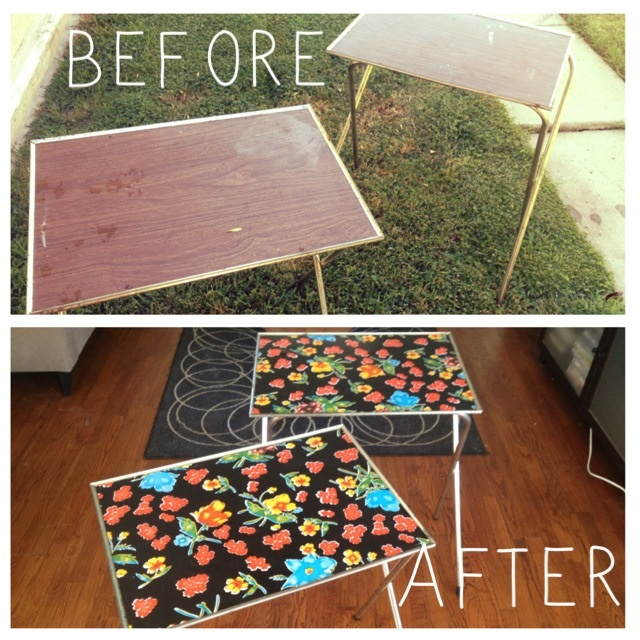 15 Minutes And $5 For This Adorable TV Tray Set, Side Table Or Serving  Tables. Polish Up The Brass Legs On This Yard Sale Find, ...