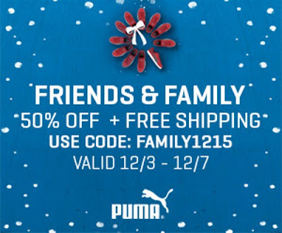 PUMA Friends & Family 50% off + Free Shipping Promo Code