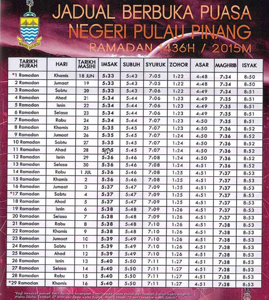 Jadual Berbuka Puasa Negeri Pulau Pinang 2015