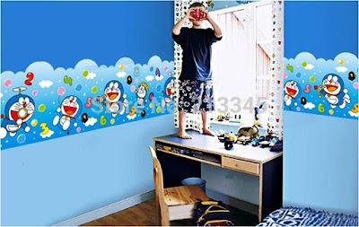 Wallpaper Dinding Kamar Tidur Anak Doraemon Terbaru