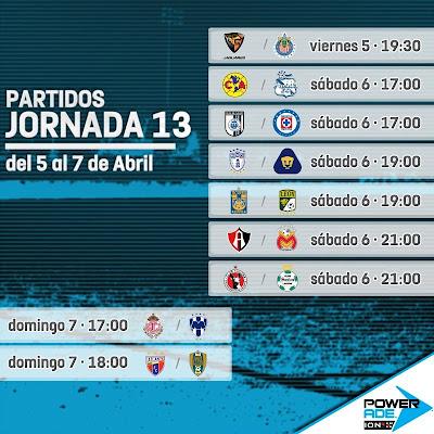 Partidos Jornada 13 Liga MX