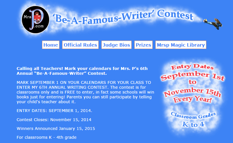 Mrs. P's Be-A-Famous Writer Contest